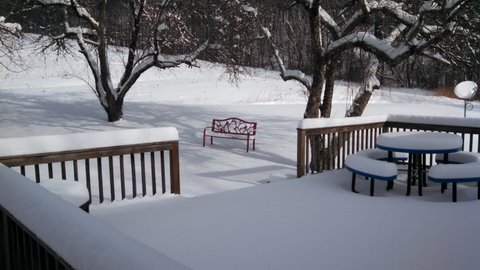 Farmhouse Deck in Snow